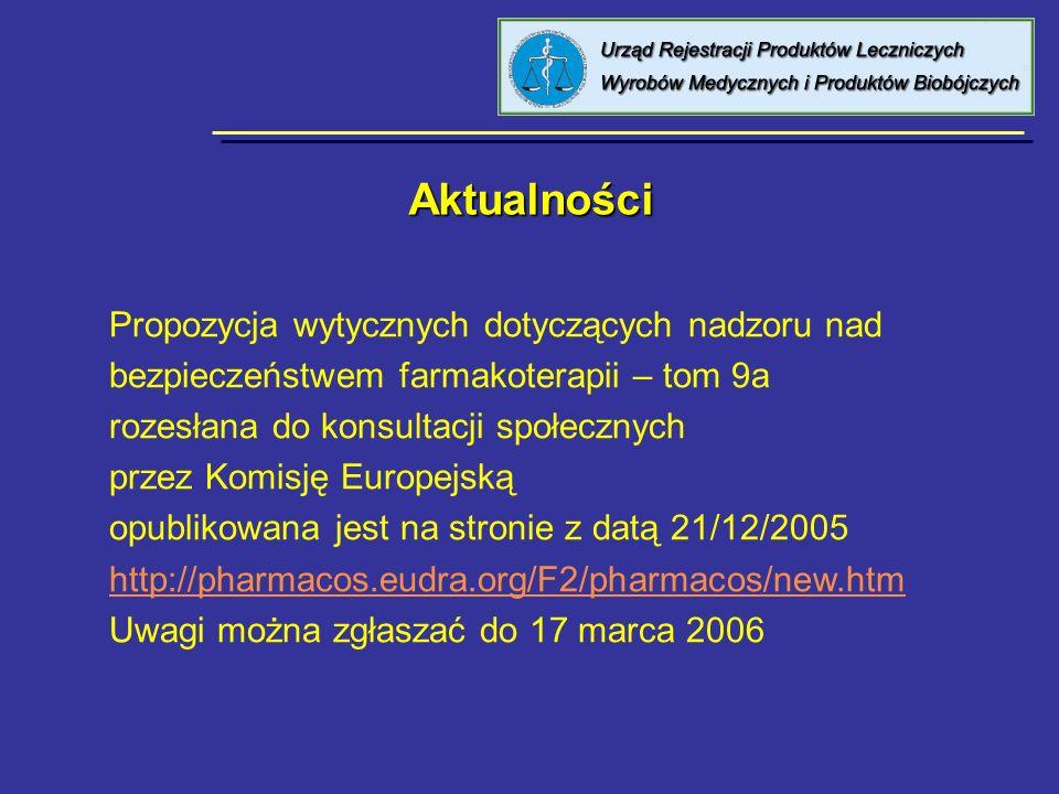 8 kwietnia 2005 Urząd Rejestracji PL, WM i PB Przydatne strony internetowe Przydatne strony internetowe http://www.urpl.gov.plhttp://www.urpl.gov.pl (Biuletyny / Biuletyn Leków Wydziału Monitorowania Niepożądanych Działań Produktów Leczniczych oraz Monitorowanie Niepożądanych Działań Produktów Leczniczych) http://emea.eu.int http://eudravigilance.emea.eu.int http://www.ich.org http://cioms.ch http://pharmacos.eudra.org/F2/home.html http://www.meddramsso.org