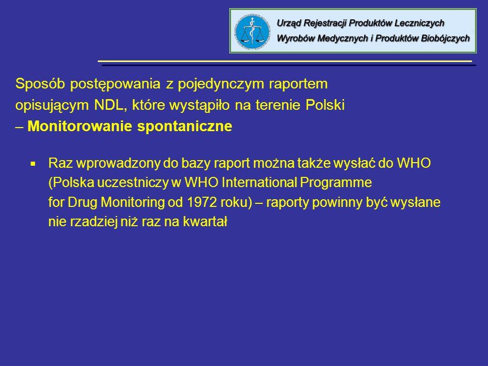 Sposób postępowania z pojedynczym raportem opisującym NDL,które wystąpiło na terenie Polski – Raporty od firm Raporty otrzymywane od podmiotów odpowiedzialnych Wysyłane w wersji papierowej lub także w wersji elektronicznej, w zależności od firmy i etapu na jakim jest elektroniczne raportowanie Do zadań Wydziału należy odszukanie raportu w bazie danych, przesłanego drogą elektroniczną, weryfikacja z wersją papierową a następnie wygenerowanie pliku w formacie.xml i przesłanie go do bazy danych EudraVigilance (dane są szyfrowane) - jest to tzw.