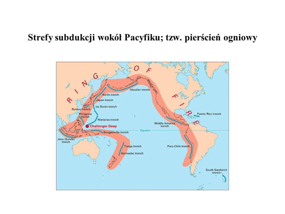 Strefy subdukcji wokół Pacyfiku; tzw. pierścień ogniowy