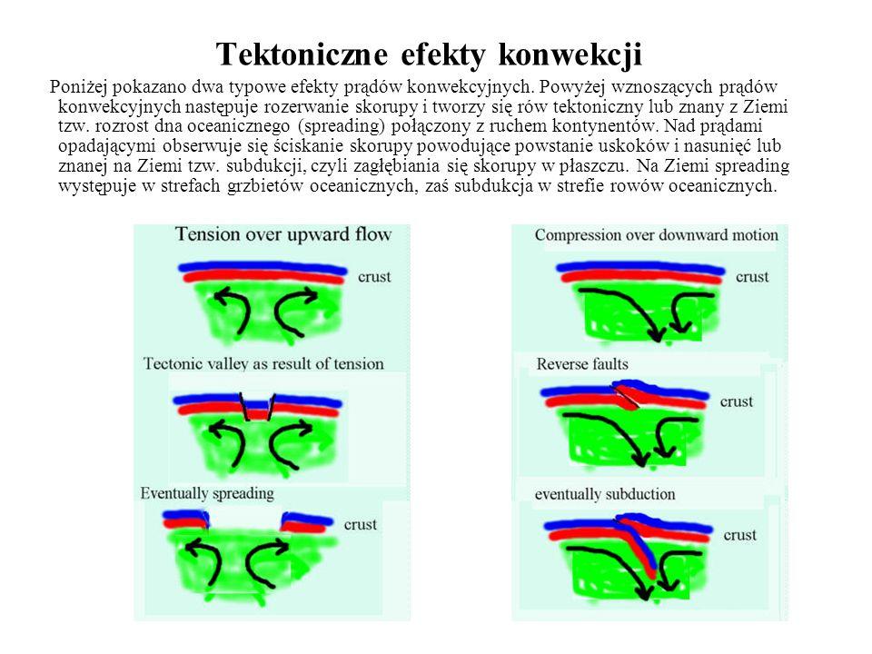 Tektoniczne efekty konwekcji Poniżej pokazano dwa typowe efekty prądów konwekcyjnych. Powyżej wznoszących prądów konwekcyjnych następuje rozerwanie sk