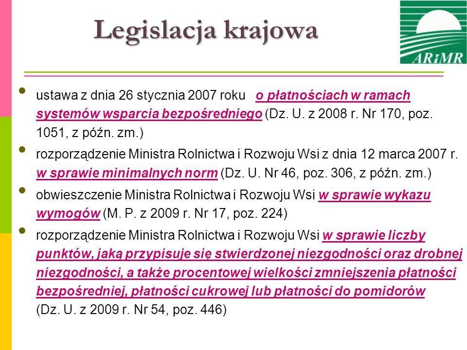 Legislacja krajowa ustawa z dnia 26 stycznia 2007 roku o płatnościach w ramach systemów wsparcia bezpośredniego (Dz. U. z 2008 r. Nr 170, poz. 1051, z