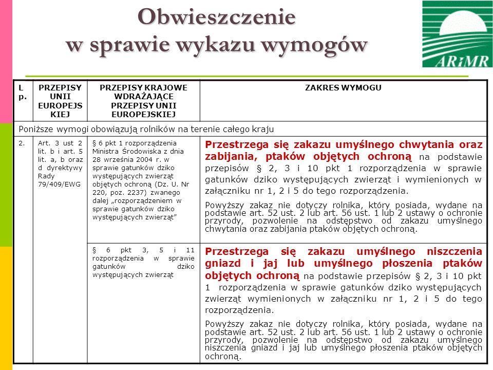 L p. PRZEPISY UNII EUROPEJS KIEJ PRZEPISY KRAJOWE WDRAŻAJĄCE PRZEPISY UNII EUROPEJSKIEJ ZAKRES WYMOGU Poniższe wymogi obowiązują rolników na terenie c