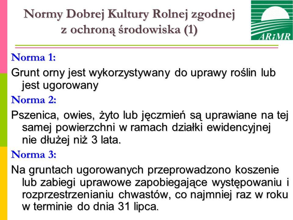 Normy Dobrej Kultury Rolnej zgodnej z ochroną środowiska (1) Norma 1: Grunt orny jest wykorzystywany do uprawy roślin lub jest ugorowany Norma 2: Psze