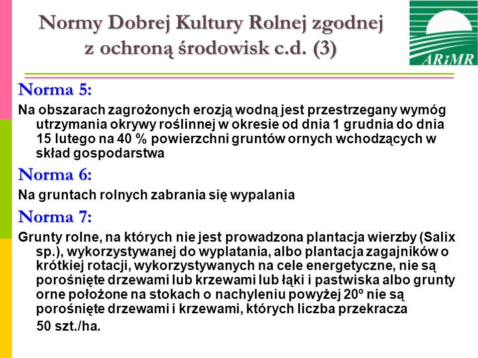 Normy Dobrej Kultury Rolnej zgodnej z ochroną środowisk c.d. (3) Norma 5: Na obszarach zagrożonych erozją wodną jest przestrzegany wymóg utrzymania ok