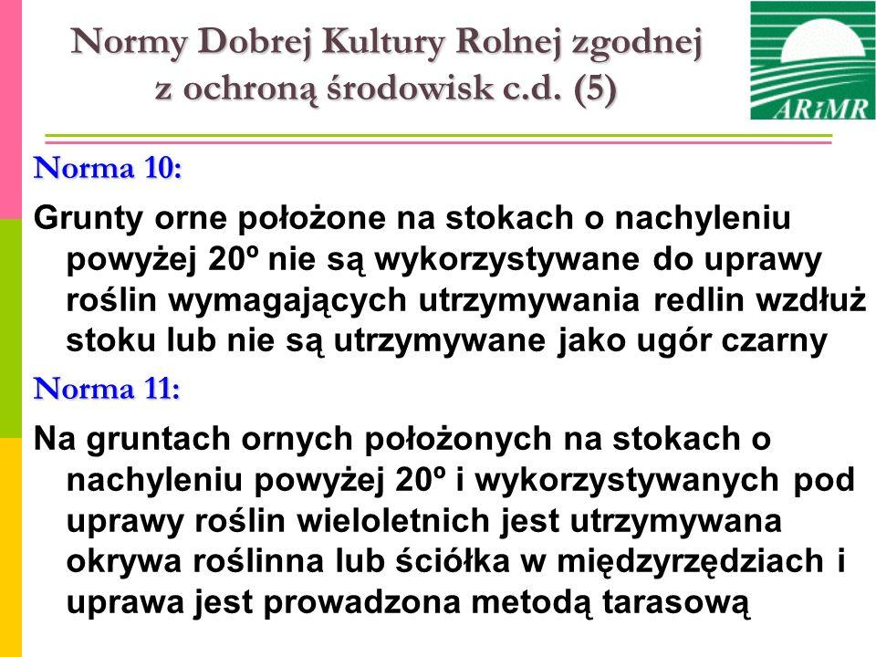 Normy Dobrej Kultury Rolnej zgodnej z ochroną środowisk c.d. (5) Norma 10: Grunty orne położone na stokach o nachyleniu powyżej 20º nie są wykorzystyw
