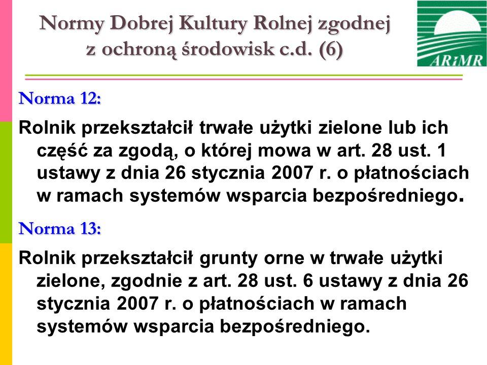 Normy Dobrej Kultury Rolnej zgodnej z ochroną środowisk c.d. (6) Norma 12: Rolnik przekształcił trwałe użytki zielone lub ich część za zgodą, o której