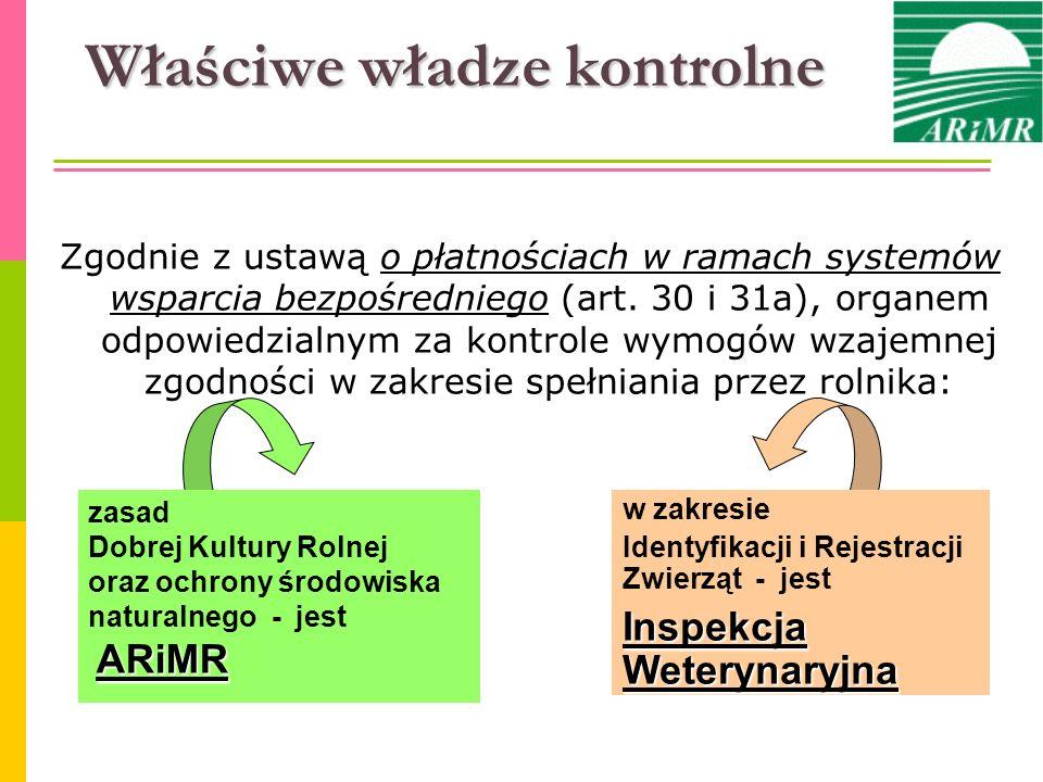Organy Kontroli w Polsce Agencja Restrukturyzacji i Modernizacji Rolnictwa – normy Dobrej Kultury Rolnej oraz wymogi w obszarze środowisko - dyrektor oddziału regionalnego ARiMR właściwy ze względu na miejsce zamieszkania lub siedzibę rolnika Inspekcja Weterynaryjna – wymogi w obszarze identyfikacja i rejestracja zwierząt - powiatowy lekarz weterynarii właściwy ze względu na miejsce zamieszkania lub siedzibę rolnika