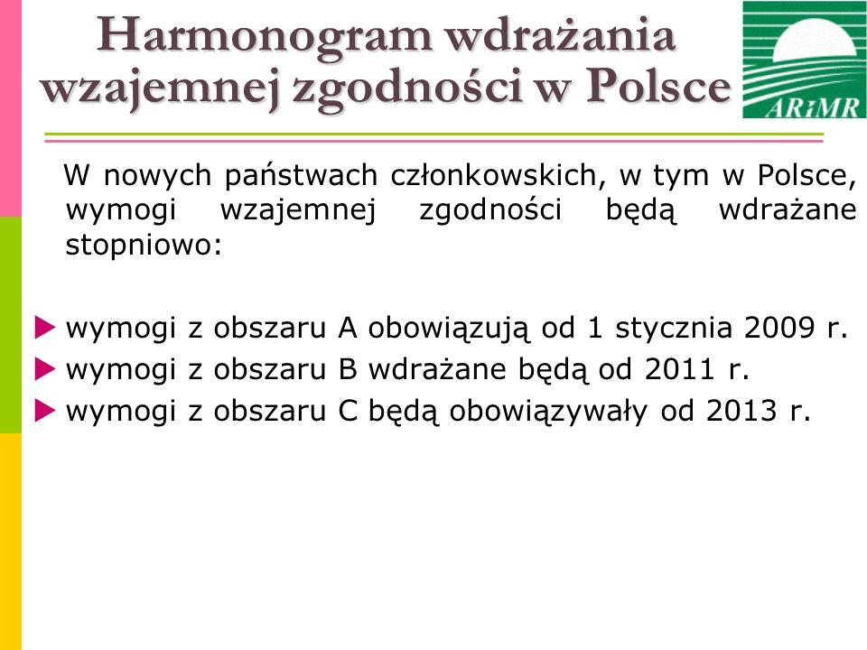 Harmonogram wdrażania wzajemnej zgodności w Polsce W nowych państwach członkowskich, w tym w Polsce, wymogi wzajemnej zgodności będą wdrażane stopniow