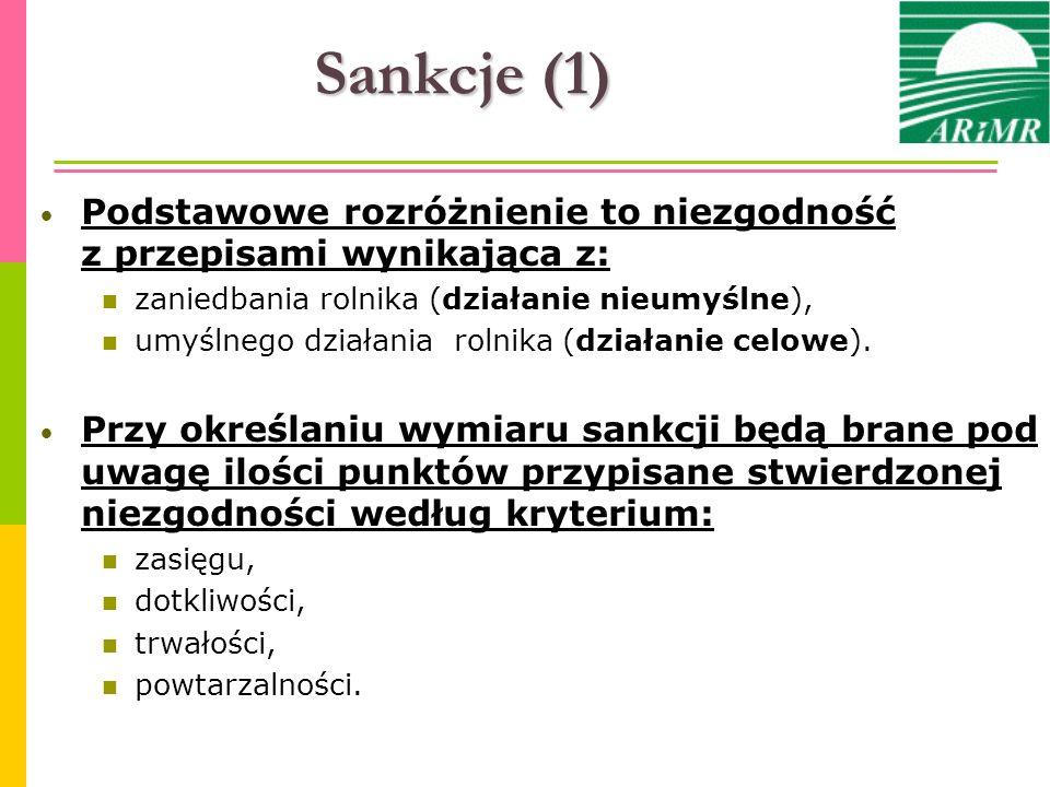 Sankcje (1) Podstawowe rozróżnienie to niezgodność z przepisami wynikająca z: zaniedbania rolnika (działanie nieumyślne), umyślnego działania rolnika