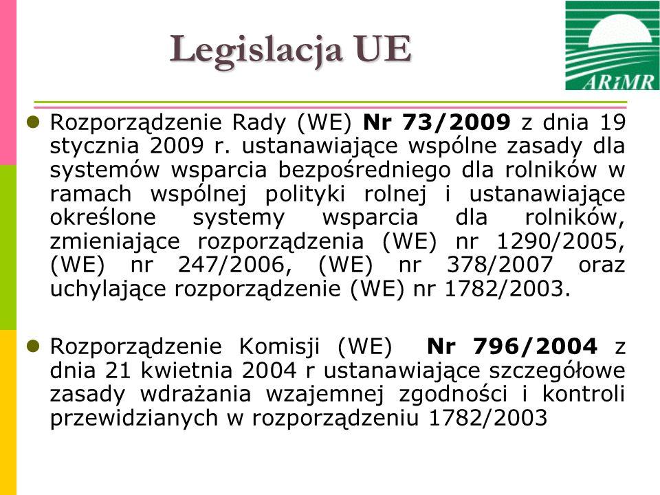 Legislacja UE Rozporządzenie Rady (WE) Nr 73/2009 z dnia 19 stycznia 2009 r. ustanawiające wspólne zasady dla systemów wsparcia bezpośredniego dla rol
