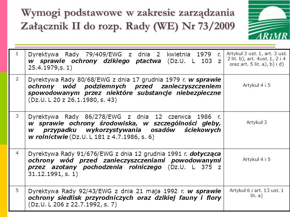 Wymogi podstawowe w zakresie zarządzania Załącznik II do rozp. Rady (WE) Nr 73/2009 1 Dyrektywa Rady 79/409/EWG z dnia 2 kwietnia 1979 r. w sprawie oc