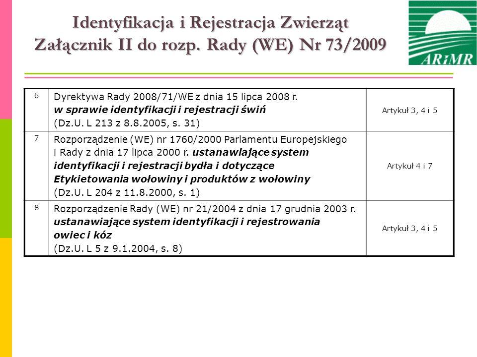 Identyfikacja i Rejestracja Zwierząt Załącznik II do rozp. Rady (WE) Nr 73/2009 6 Dyrektywa Rady 2008/71/WE z dnia 15 lipca 2008 r. w sprawie identyfi