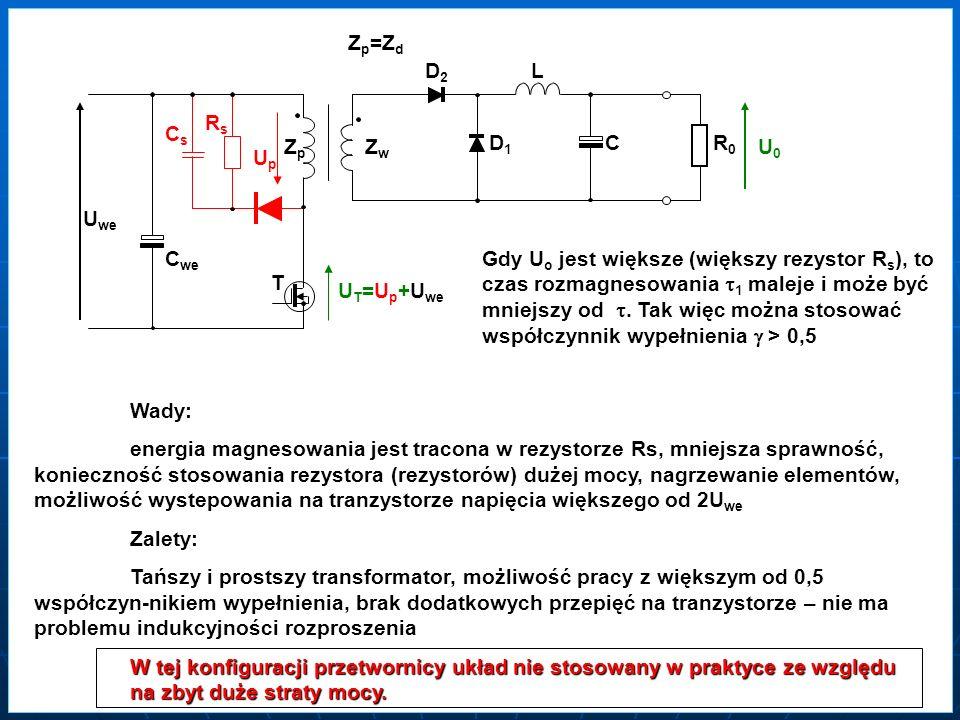 ZZpZZp ZZwZZw T2 DD1DD1 DD2DD2L C RR0RR0 U0U0 UpUp UwUw U we C we T1 D1 D2 U p =U we < 0,5 Wady: dwa tranzystory przełączające, skomplikowany układ sterowania, wyższe koszty Zalety: prosty transformator, brak dodatkowych przepięć na tranzystorze – nie ma problemu indukcyjności rozproszenia, napięcie na tranzystorze nie przekracza U we W tej konfiguracji przetwornicy układ stosowany często przy dużych mocach wyjściowych – zwykle powyżej 300 – 500W IpIpIpIp