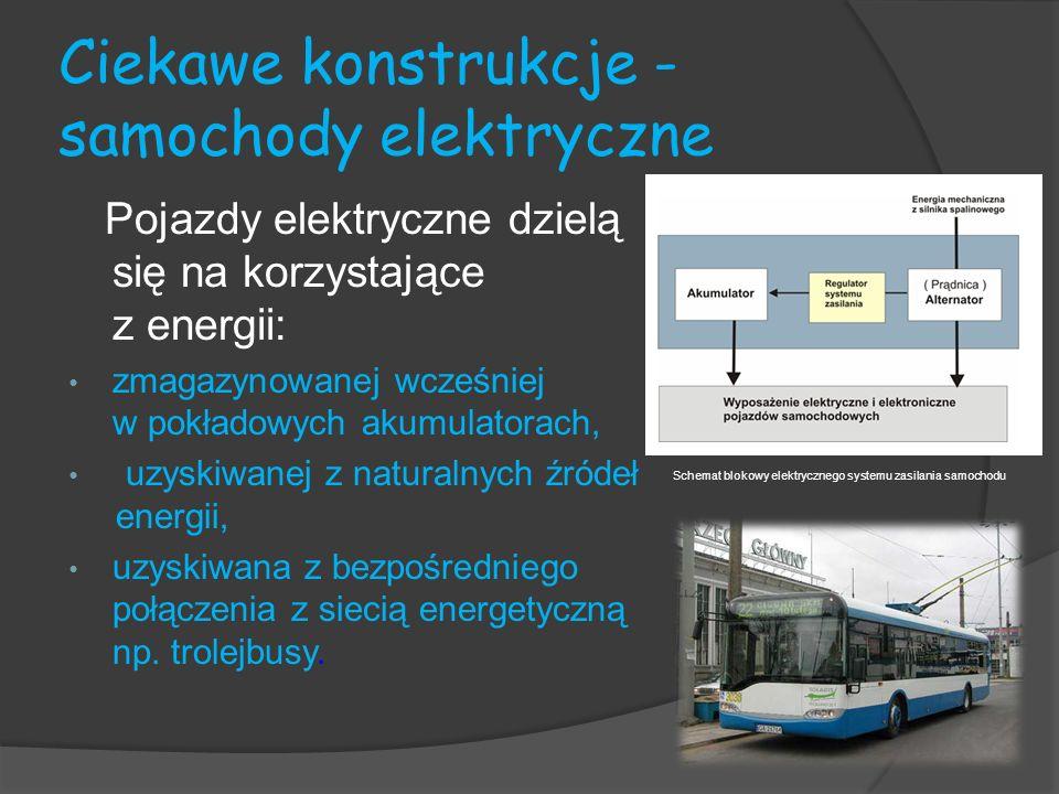 Ciekawe konstrukcje - samochody elektryczne Pojazdy elektryczne dzielą się na korzystające z energii: zmagazynowanej wcześniej w pokładowych akumulato