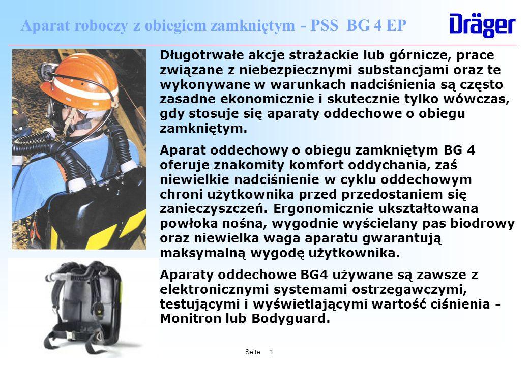 Seite1 Aparat roboczy z obiegiem zamkniętym - PSS BG 4 EP Długotrwałe akcje strażackie lub górnicze, prace związane z niebezpiecznymi substancjami ora