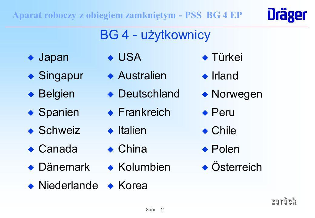 Seite11 Aparat roboczy z obiegiem zamkniętym - PSS BG 4 EP BG 4 - użytkownicy u Japan u Singapur u Belgien u Spanien u Schweiz u Canada u Dänemark u N