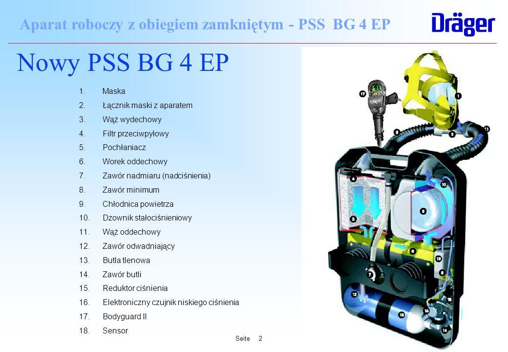 Seite2 Aparat roboczy z obiegiem zamkniętym - PSS BG 4 EP Nowy PSS BG 4 EP 1.Maska 2.Łącznik maski z aparatem 3.Wąż wydechowy 4.Filtr przeciwpyłowy 5.