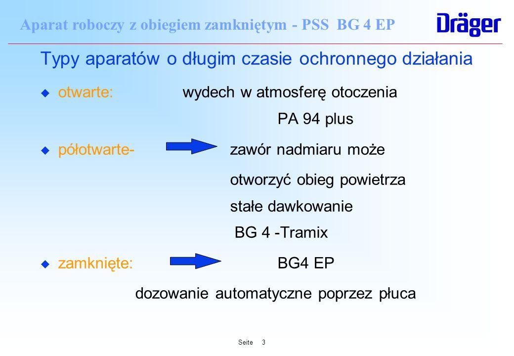 Seite3 Aparat roboczy z obiegiem zamkniętym - PSS BG 4 EP Typy aparatów o długim czasie ochronnego działania u otwarte: wydech w atmosferę otoczenia P