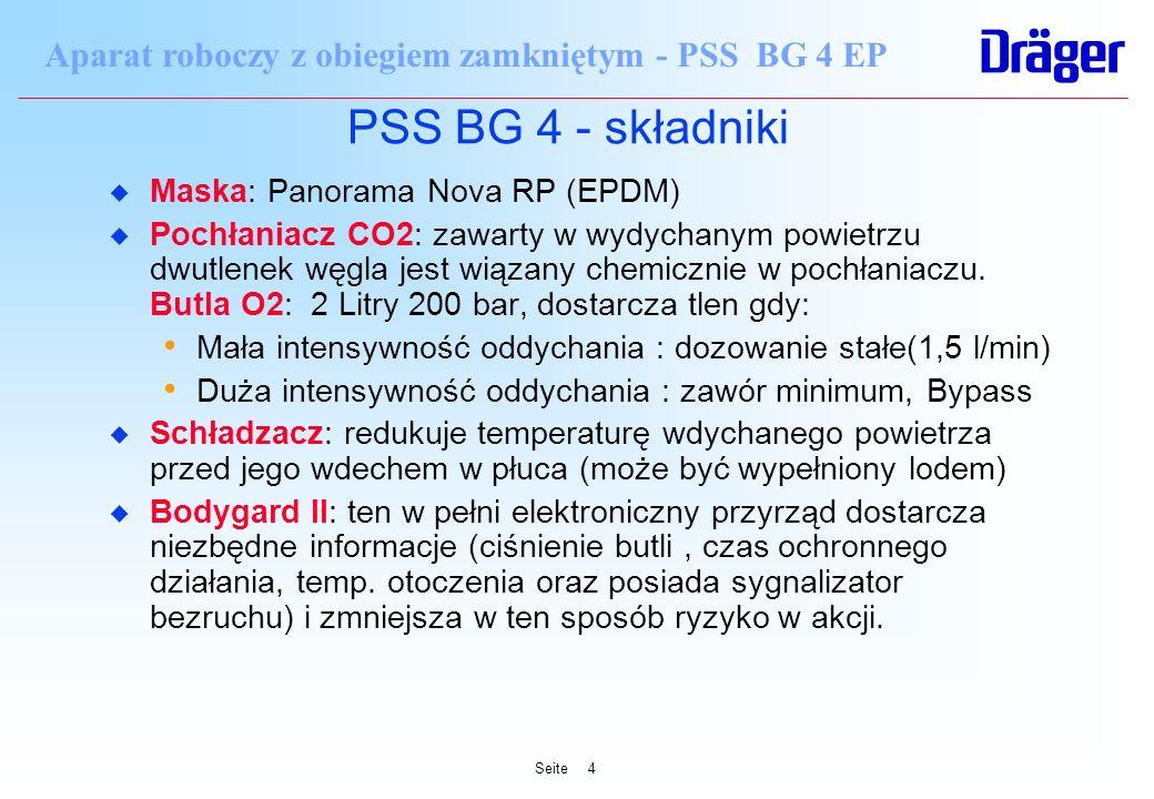 Seite4 Aparat roboczy z obiegiem zamkniętym - PSS BG 4 EP PSS BG 4 - składniki u Maska: Panorama Nova RP (EPDM) u Pochłaniacz CO2: zawarty w wydychany