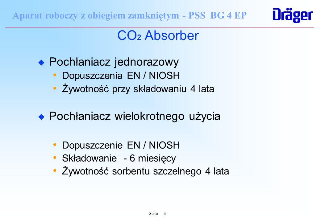 Seite6 Aparat roboczy z obiegiem zamkniętym - PSS BG 4 EP CO 2 Absorber u Pochłaniacz jednorazowy Dopuszczenia EN / NIOSH Żywotność przy składowaniu 4