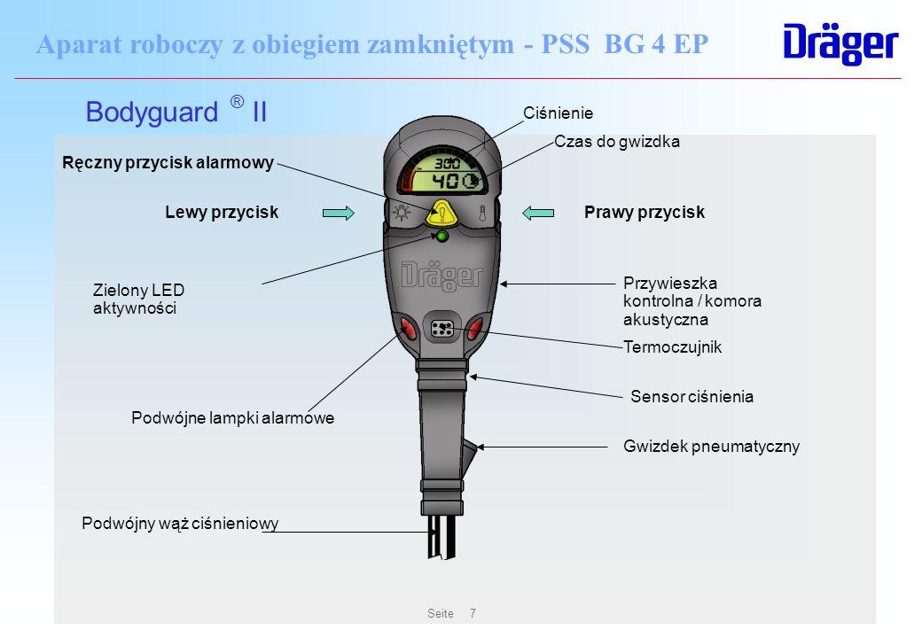 Seite7 Aparat roboczy z obiegiem zamkniętym - PSS BG 4 EP Zielony LED aktywności Podwójne lampki alarmowe Gwizdek pneumatyczny Podwójny wąż ciśnieniow