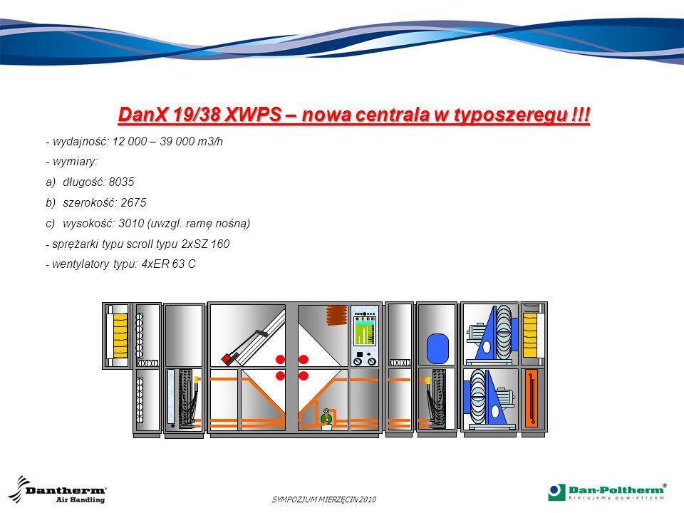 SYMPOZJUM MIERZĘCIN 2010 DanX 19/38 XWPS – nowa centrala w typoszeregu !!! - wydajność: 12 000 – 39 000 m3/h - wymiary: a)długość: 8035 b)szerokość: 2