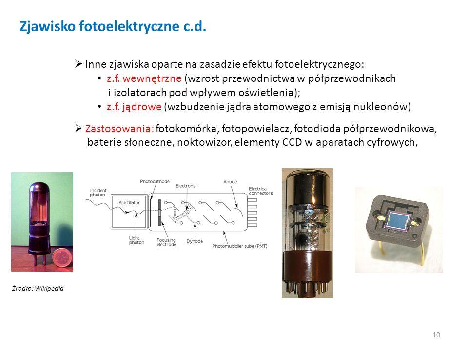 10 Zjawisko fotoelektryczne c.d. Inne zjawiska oparte na zasadzie efektu fotoelektrycznego: z.f. wewnętrzne (wzrost przewodnictwa w półprzewodnikach i