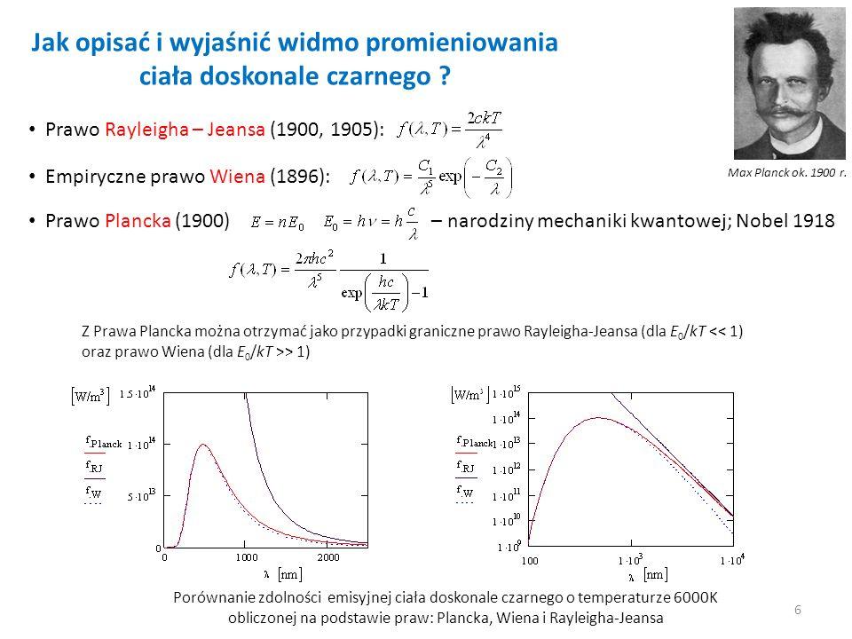 Jak opisać i wyjaśnić widmo promieniowania ciała doskonale czarnego ? Prawo Rayleigha – Jeansa (1900, 1905): Empiryczne prawo Wiena (1896): Prawo Plan