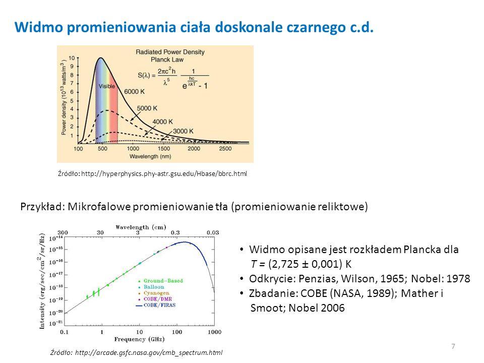 7 Widmo promieniowania ciała doskonale czarnego c.d. Przykład: Mikrofalowe promieniowanie tła (promieniowanie reliktowe) Źródło: http://hyperphysics.p