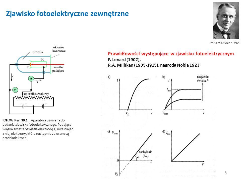 8 Zjawisko fotoelektryczne zewnętrzne R/H/W Rys. 39.1. Aparatura używana do badania zjawiska fotoelektrycznego. Padająca wiązka światła oświetla elekt
