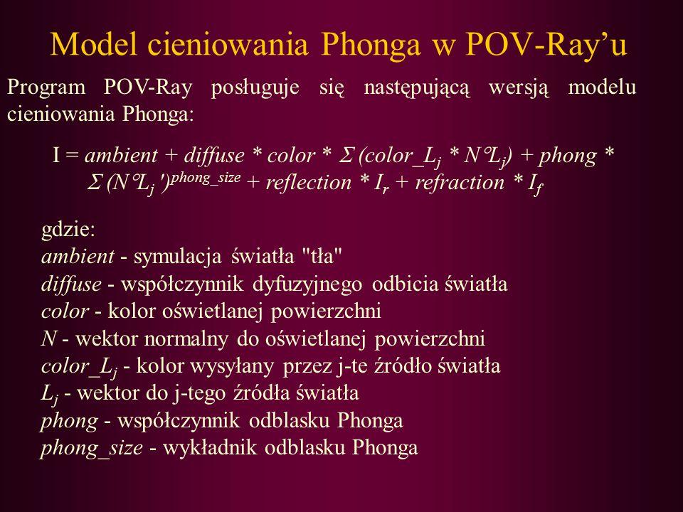 Model cieniowania Phonga w POV-Rayu Program POV-Ray posługuje się następującą wersją modelu cieniowania Phonga: I = ambient + diffuse * color * (color