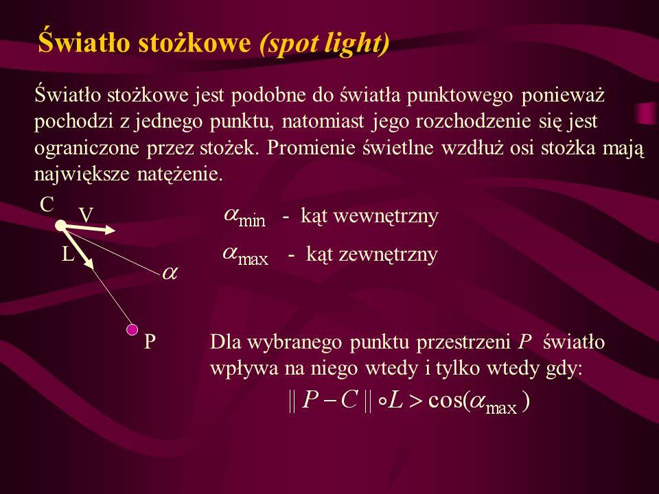 Światło stożkowe (spot light) Światło stożkowe jest podobne do światła punktowego ponieważ pochodzi z jednego punktu, natomiast jego rozchodzenie się