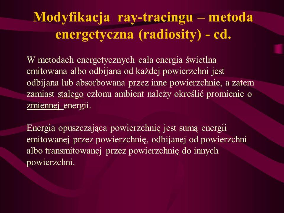 Modyfikacja ray-tracingu – metoda energetyczna (radiosity) - cd. W metodach energetycznych cała energia świetlna emitowana albo odbijana od każdej pow
