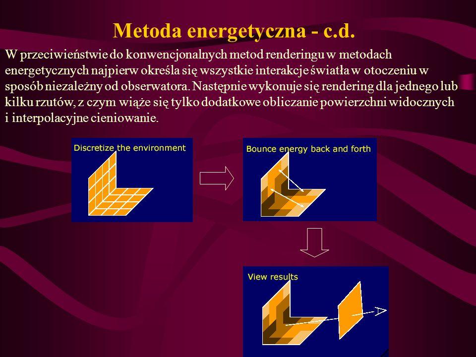 W przeciwieństwie do konwencjonalnych metod renderingu w metodach energetycznych najpierw określa się wszystkie interakcje światła w otoczeniu w sposó