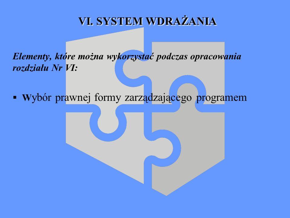 VI. SYSTEM WDRAŻANIA Elementy, które można wykorzystać podczas opracowania rozdziału Nr VI: W ybór prawnej formy zarządzającego programem