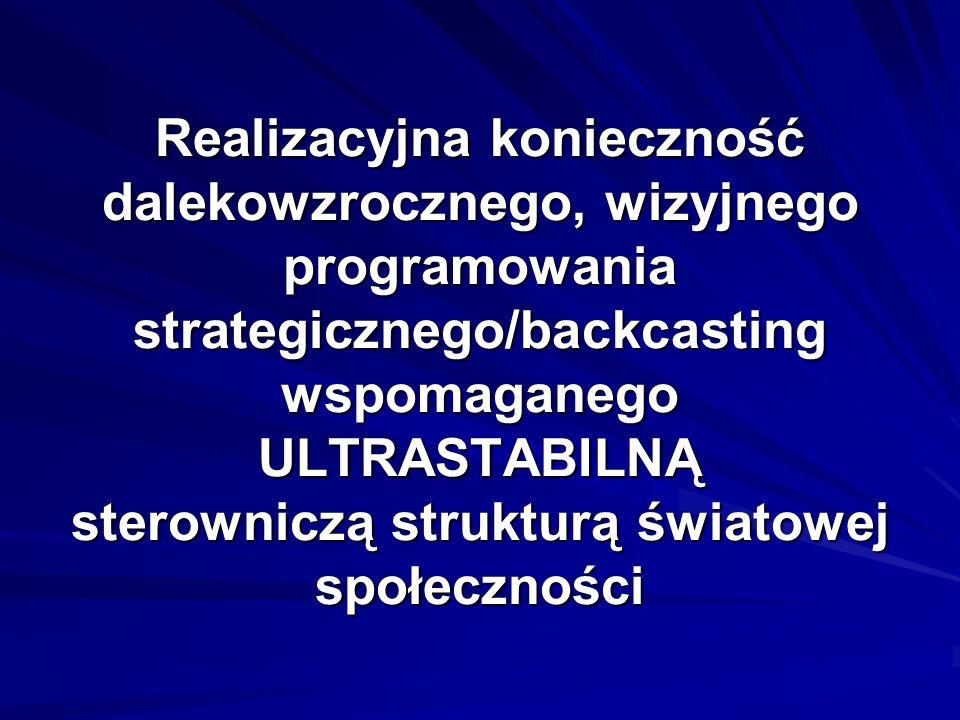 Realizacyjna konieczność dalekowzrocznego, wizyjnego programowania strategicznego/backcasting wspomaganego ULTRASTABILNĄ sterowniczą strukturą światow