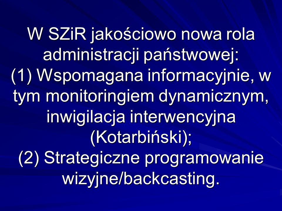 W SZiR jakościowo nowa rola administracji państwowej: (1) Wspomagana informacyjnie, w tym monitoringiem dynamicznym, inwigilacja interwencyjna (Kotarb