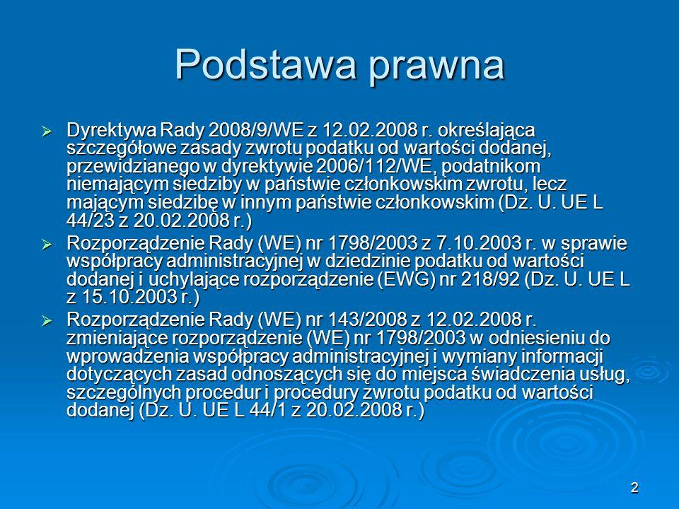 33 Dyrektywa Rady 2008/9/WE Dyrektywa Rady 2008/9/WE Dyrektywa Rady 2008/9/WE z 12.02.2008 r.