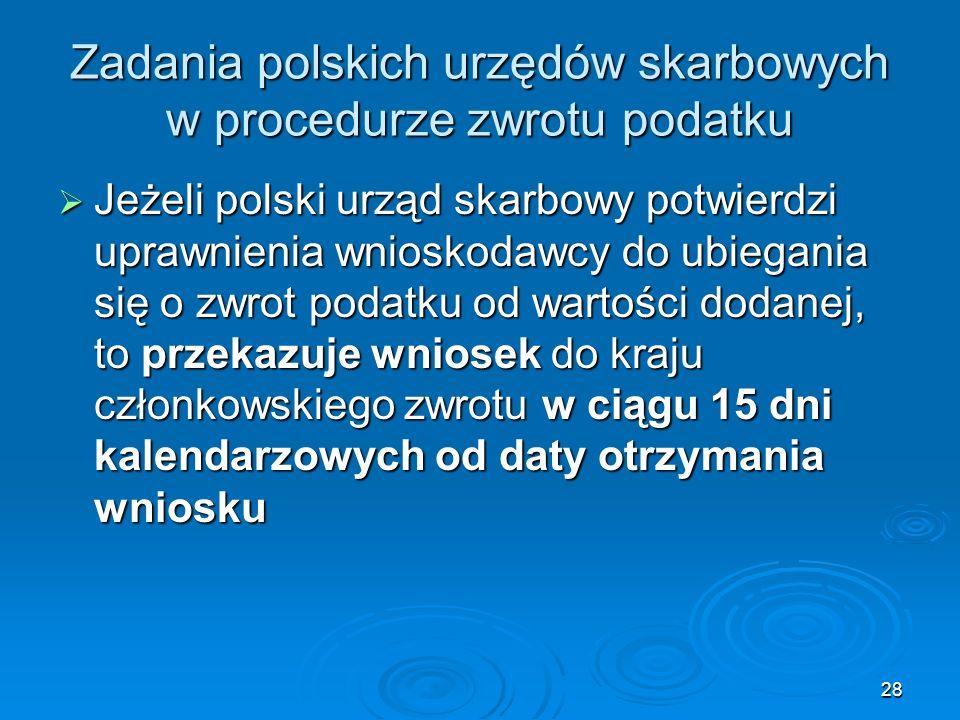 28 Zadania polskich urzędów skarbowych w procedurze zwrotu podatku Jeżeli polski urząd skarbowy potwierdzi uprawnienia wnioskodawcy do ubiegania się o