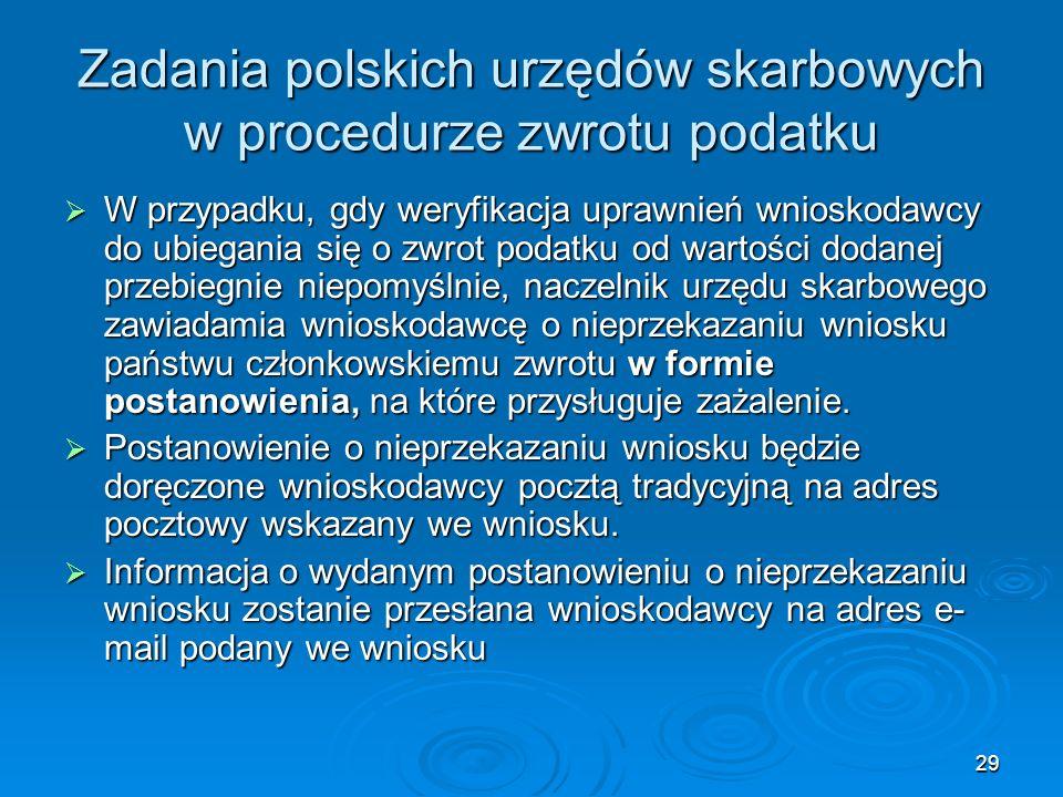 29 Zadania polskich urzędów skarbowych w procedurze zwrotu podatku W przypadku, gdy weryfikacja uprawnień wnioskodawcy do ubiegania się o zwrot podatk