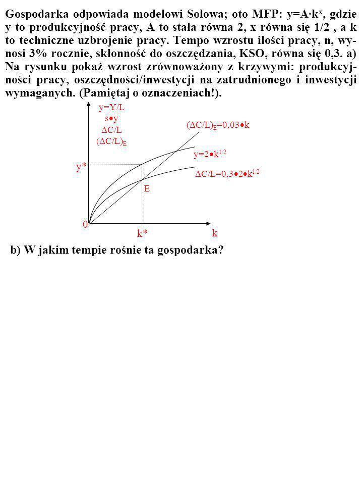 ZADANIE Gospodarka odpowiada modelowi Solowa; oto MFP: y=A·k x, gdzie y to produkcyjność pracy, A to stała równa 2, x równa się 1/2, a k to techniczne