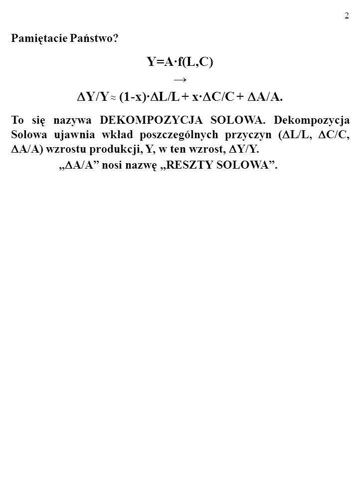 2 Pamiętacie Państwo.Y=A·f(L,C) Y/Y (1-x)· L/L + x· C/C + A/A.
