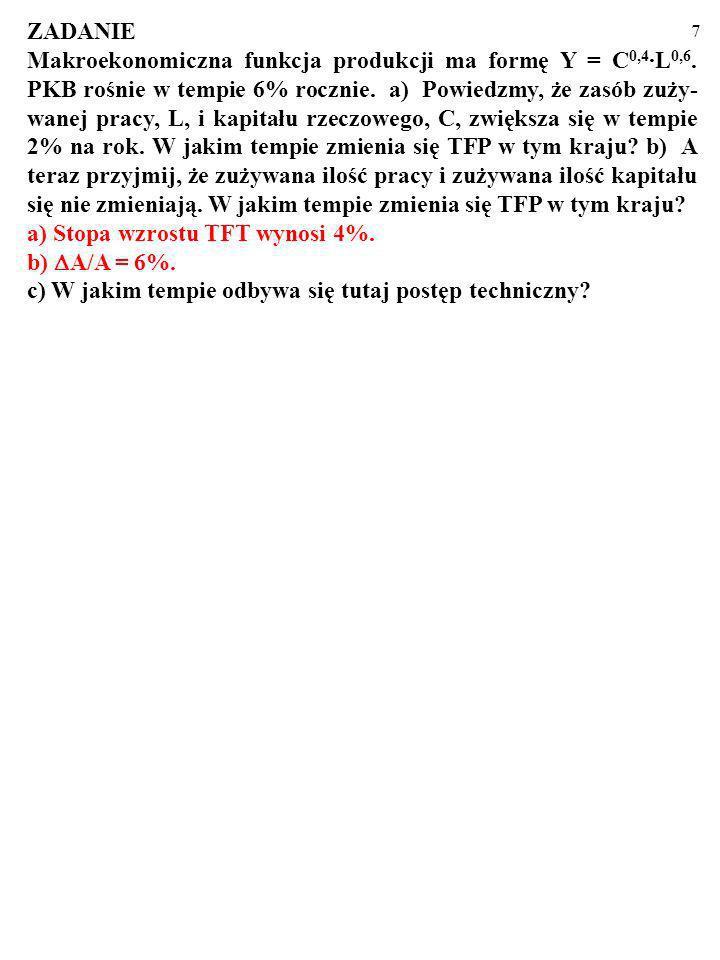 7 ZADANIE Makroekonomiczna funkcja produkcji ma formę Y = C 0,4 ·L 0,6.