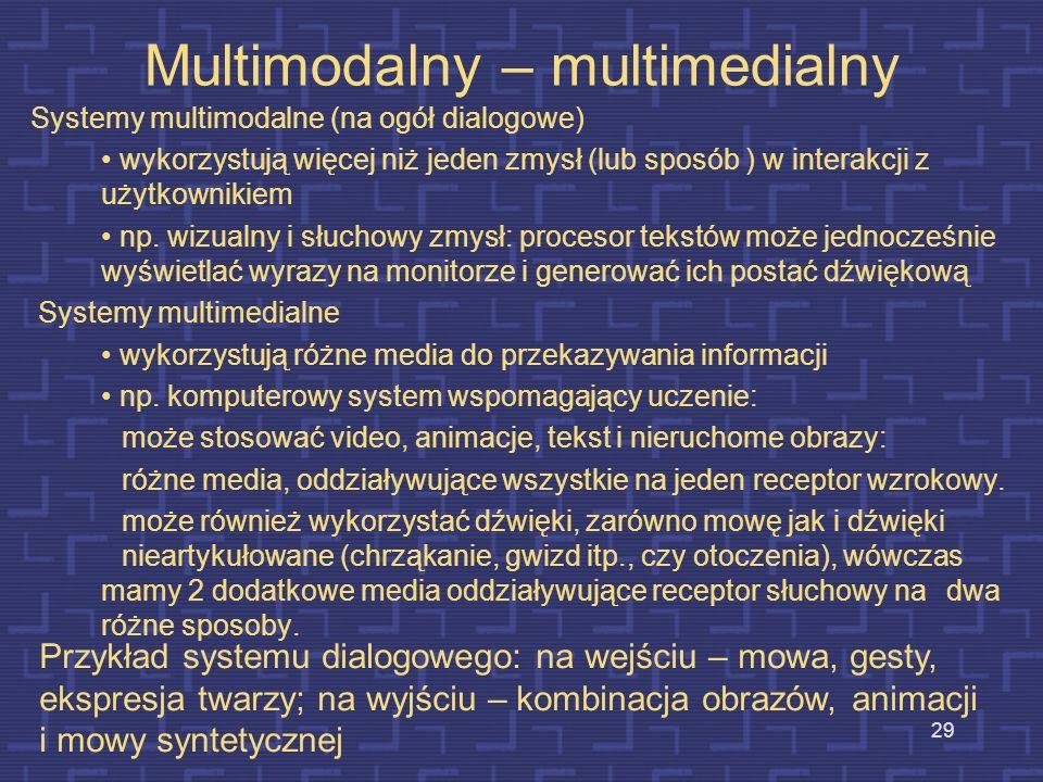 28 Sprzęt i oprogramowanie w multimediach Sprzęt komputerowy i odpowiednie oprogramowanie stanowią warunek konieczny istnienia multimediów; są podstaw