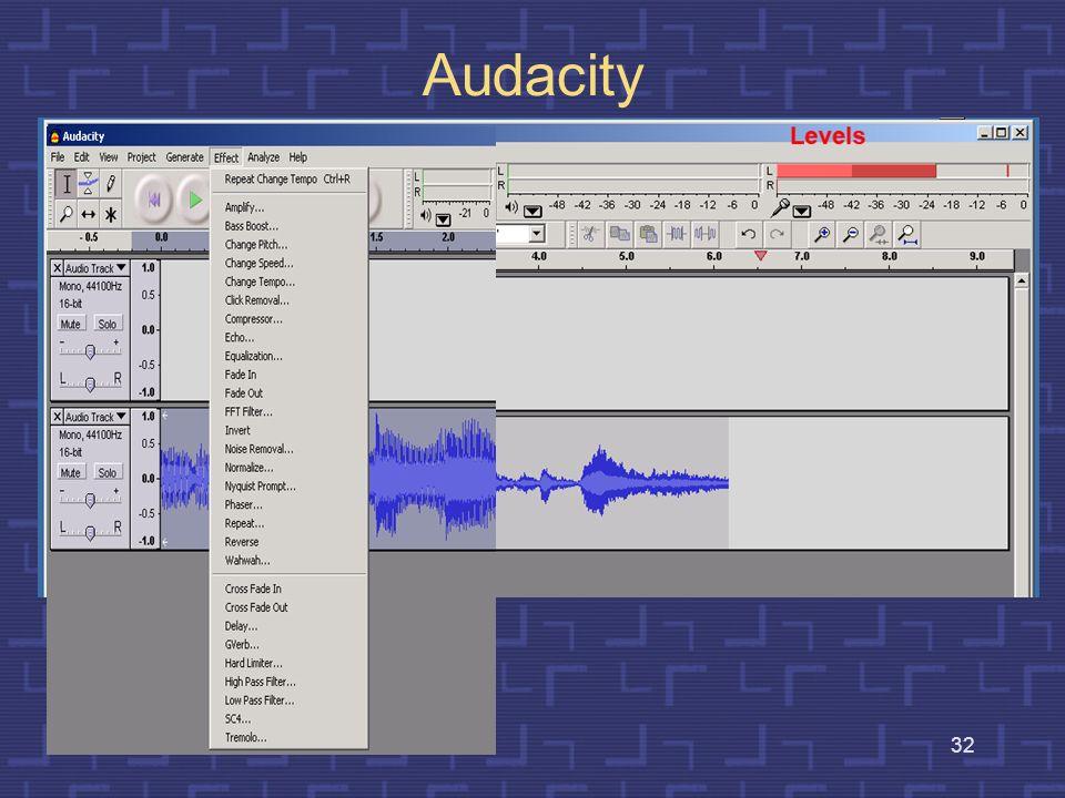 31 Interaktywne edytory sygnałów dźwiękowych Jest to oprogramowanie umożliwiające wizualizację, odsłuchiwanie i przetwarzanie sygnałów akustycznych re