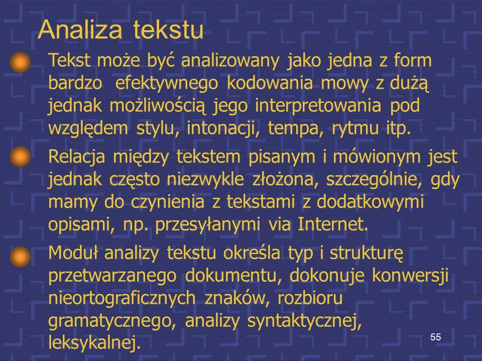 54 Moduł analizy tekstu Moduł ten powinien dostarczyć całą informację dotyczącą tekstu, nie będącą w swej naturze fonetyczną, mającą jednak wpływ na d