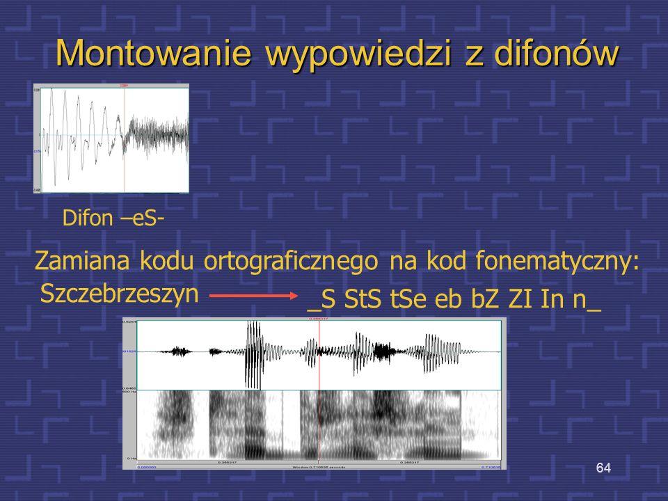 63 Difony – wady i zalety Difon – element zawierający w całości przejście między głoskami, poprzedzone częścią głoski poprzedzającej i zakończone częś