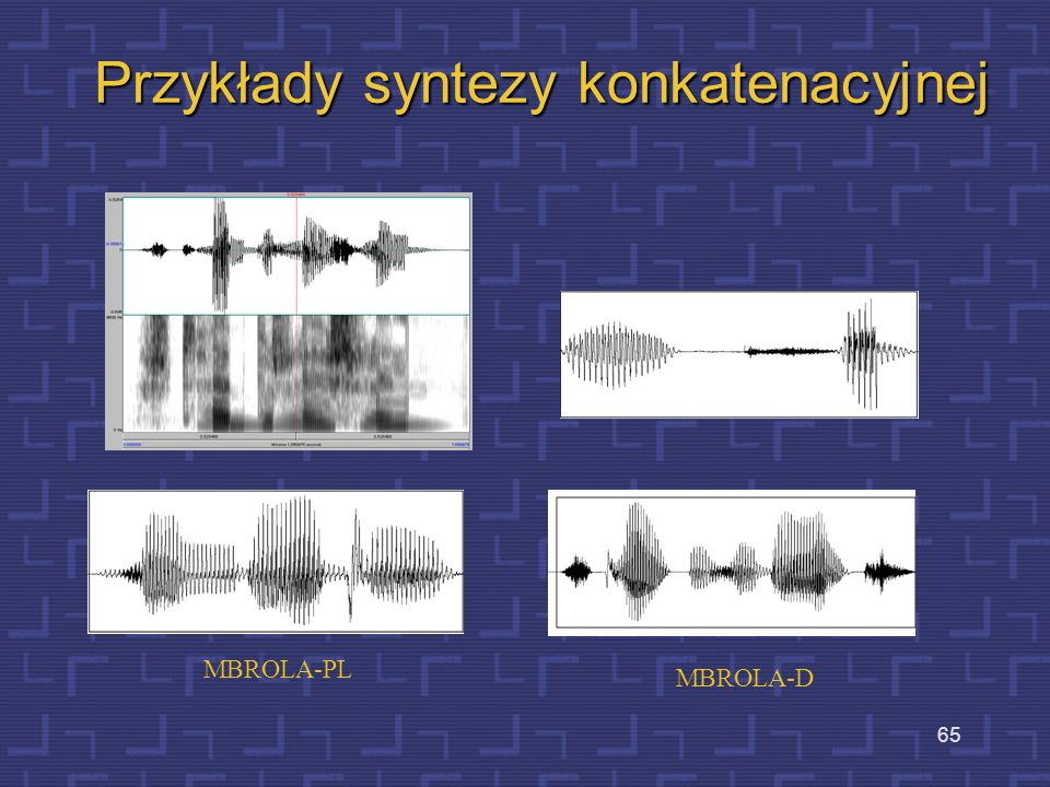 64 Montowanie wypowiedzi z difonów Difon –eS- Szczebrzeszyn Zamiana kodu ortograficznego na kod fonematyczny: _S StS tSe eb bZ ZI In n_