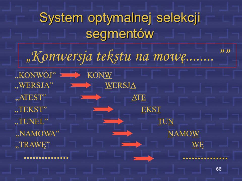 65 Przykłady syntezy konkatenacyjnej MBROLA-PL MBROLA-D
