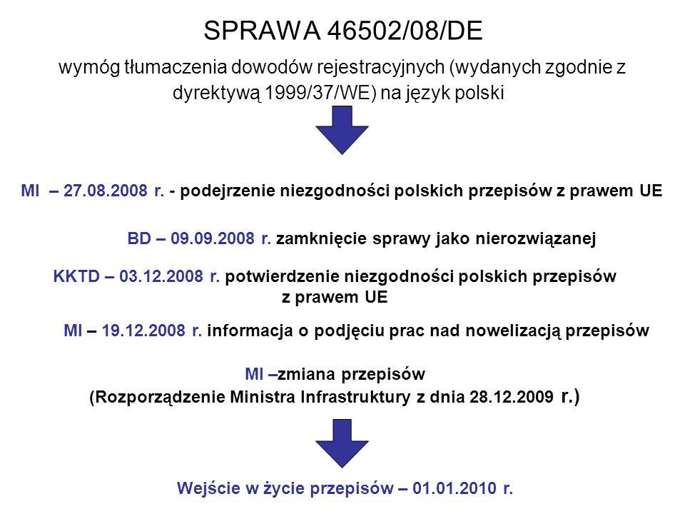 SPRAWA 46502/08/DE wymóg tłumaczenia dowodów rejestracyjnych (wydanych zgodnie z dyrektywą 1999/37/WE) na język polski KKTD – 03.12.2008 r.